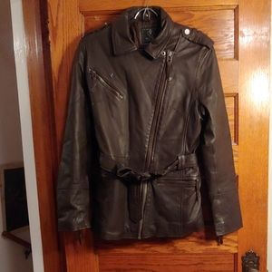 Dark brown lamb leather coat effectively new